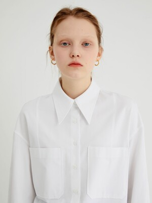 20' SPRING_White Two Poket Over Shirt