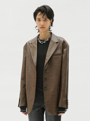 OLYA FAUX LEATHER BLOCK JACKET awa323w(OLIVE BROWN)