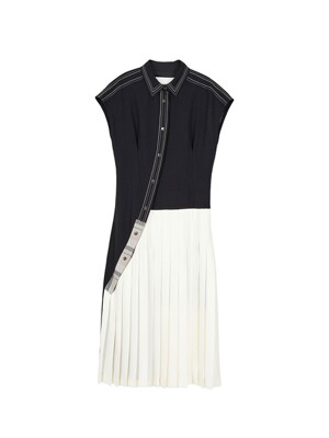 CHAIN STITCHED SLEEVELESS LONG DRESS atb388w(BLACK)