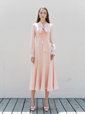 KATE Ribbon tied long sleeve dress (Peach Pink)