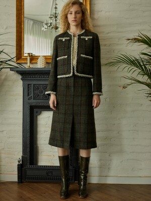 Wool Check Skirt_Forest