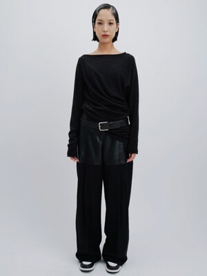 FAUX LEATHER BLOCK TROUSERS (BLACK)