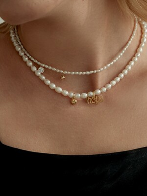 CZ & Ball Classic Pearl Necklace (925 Silver).09