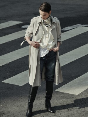 [Drama Signature] Belted Straight Trench_PALE KHAKI