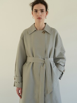 TOS COLLAR DOUBLE TRENCH COAT MINT GREY