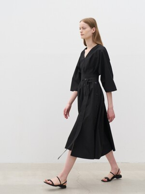 21' Summer_ Black Cotton Belted Dress