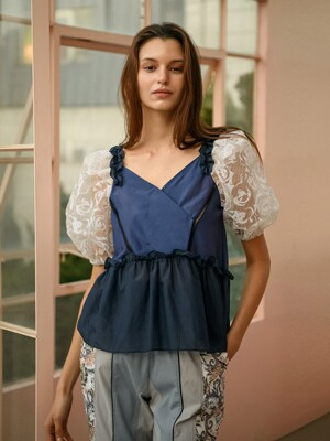 Rose Guipure Lace Puff Sleeve Silk-blend Blouse