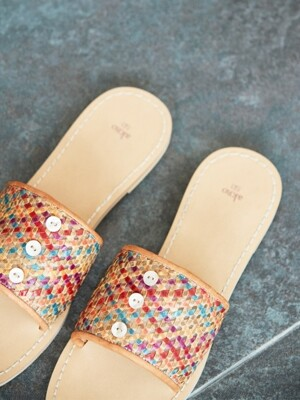 botton mesh leather slippers_multi