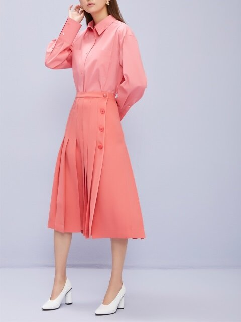 One Side Open Pleated Midi Skirt Neon Punch