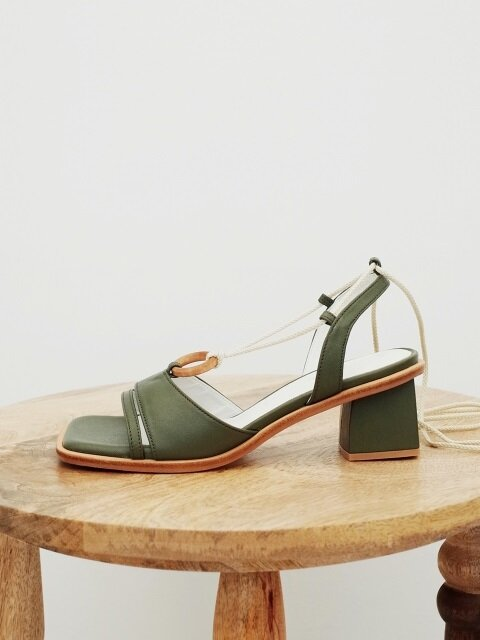 Wood ring strap sandals Olive green