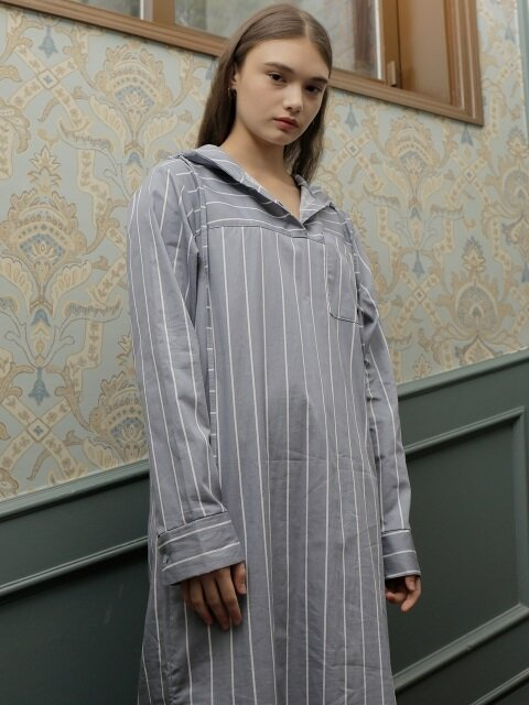 STRIPE HOODIE ONE-PIECE_BLUE