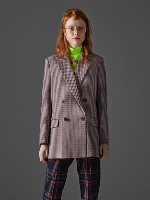 Hound Tooth Check Double Button Blazer_Wine