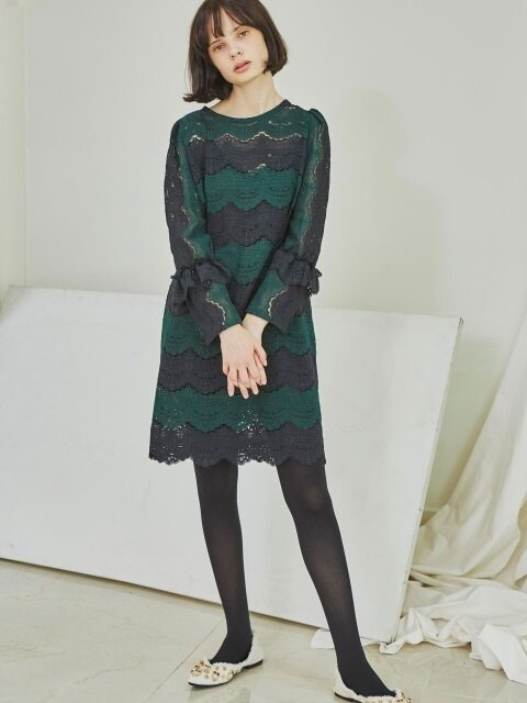 Green and Black Lace Stripe Dress_Green