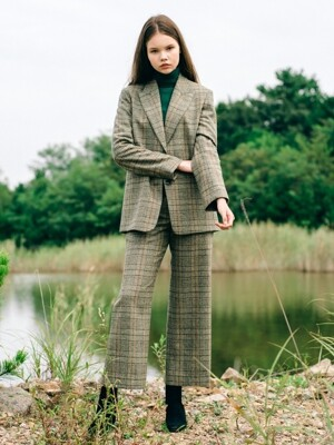 Green Glen Check Wide WOOL Set-up Pants