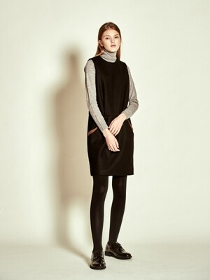Sleeveless Stitch Wool Dress_ Black