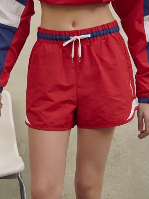 (PT-19161) COLOR BLOCK SHORT PANTS RED