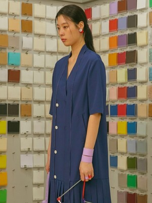 19SS V-NECK RIBBON DOUBLE DRESS_NAVY