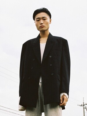 DOUBLE BRESATED OVERSIZED BLAZER _ BLACK