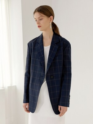 KATE Fluid String Blazer(NAVY CHECK)