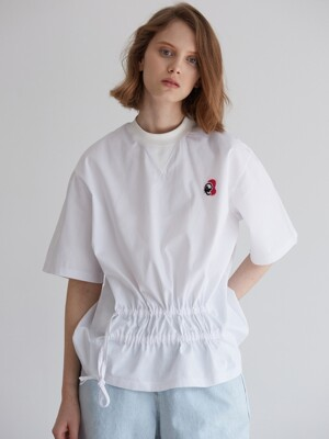 ACHIO SHIRRING T-SHIRT_WHITE