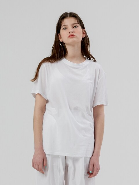 Basic Half Sleeve T shirt  [White]