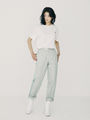 Line Colored Slim Baggy Pants Gray