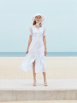 SEMI OFF-SHOULDER PRINCESS LINE DRESS_WHITE