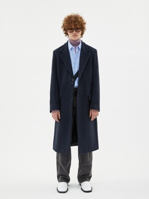 JAMES SINGLE STRAP LONG COAT awa277m(NAVY HERRINGBONE)