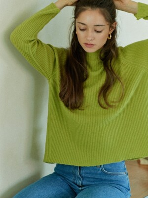 harf-neck ribbed sweater