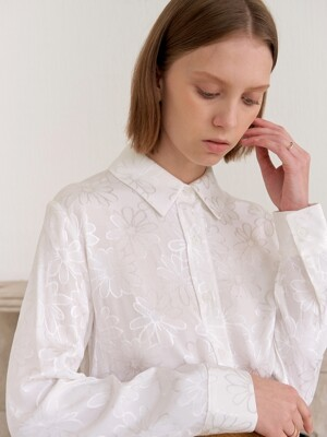 FLOWER SILKY SHIRTS_WHITE