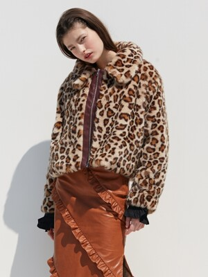 LEOPARD FUR JACKET_BROWN