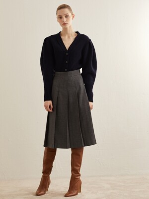 ONE WAY PLEAT SKIRT_GREY