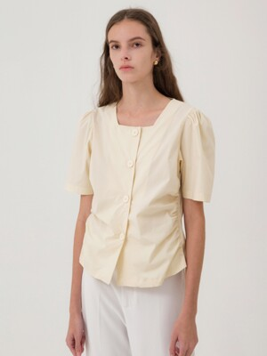 Square Neck Shirring Blouse - Yellow