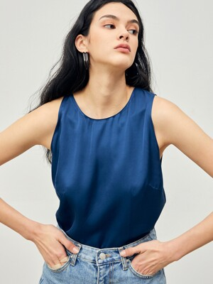 Unbalanced Sleeveless Blouse Turkish-Blue