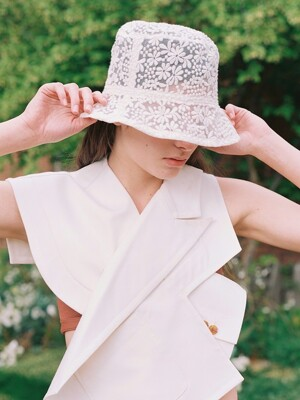 BASIC BUCKET HAT_LACE CREAM