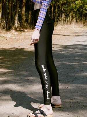 (LS-20377) POCKET WATER LEGGINGS BLACK