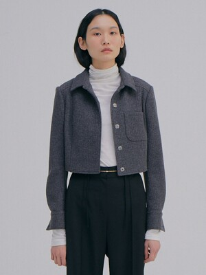 Knitted Crop Jacket_Charcoal