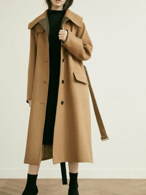 20' Winter_Tan Camel A-Line Belted Wool Coat