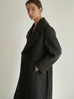 TTW WOOL DOUBLE BREASTED LONG COAT 2COLOR