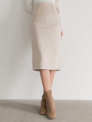 FLU SUEDE BACK SLIT SKIRT CREAM