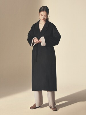 STRING WOOL ROBE COAT_Black