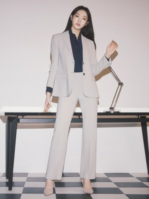 [Drama Signature] Two-button Blazer + Bootcut Trousers SET (PALE KHAKI)