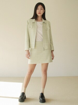 TWEED ZIP UP SET_MINT