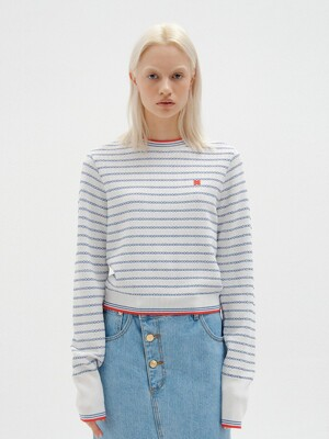 SCALEA Stripe Knit Pull-over - White/Blue Stripe