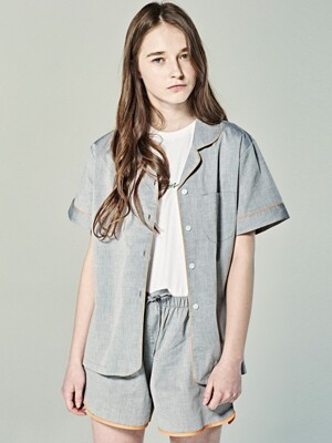 (W) Short Sleeve Pajama Set Chambray Grey