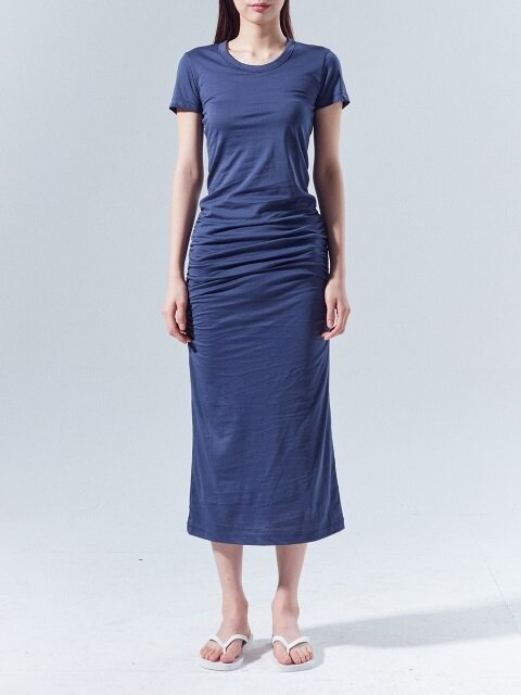 T-shirt Shirring Cotton Dress_NAVY