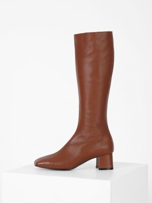 SQUARE LONG BOOTS - BROWN