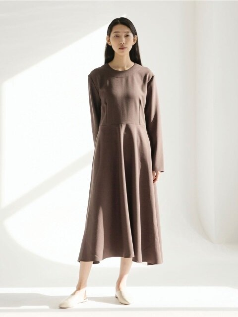 Heavy Weight Flared Dress - Brown