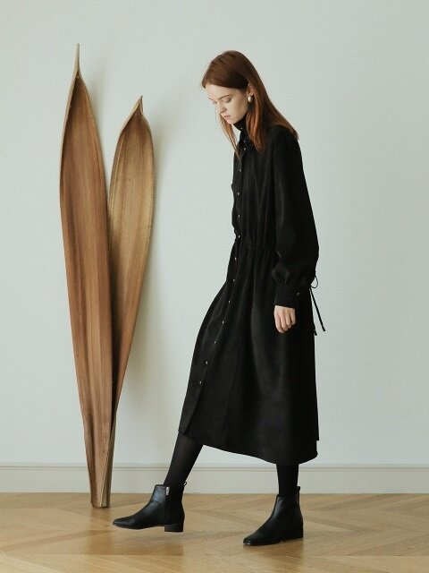 [단독] CORDUROY LONG DRESS BLACK