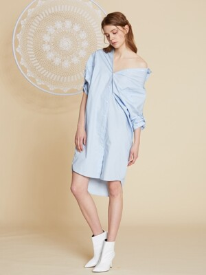 AHIN OFF-SHOULDER SHIRT DRESS [CK-DR-A588]